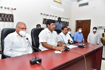 On 18.08.2020 Honoruable Deputy Chief Minister conducted review meeting on floods effected areas at RDO office Amalapuram. Honoruable Ministers, Member of Parliament Amalapuram, Members of Legislative Assembly, Sub Collector Amalapuram, RDO Ramachandrapuram and other officials participated