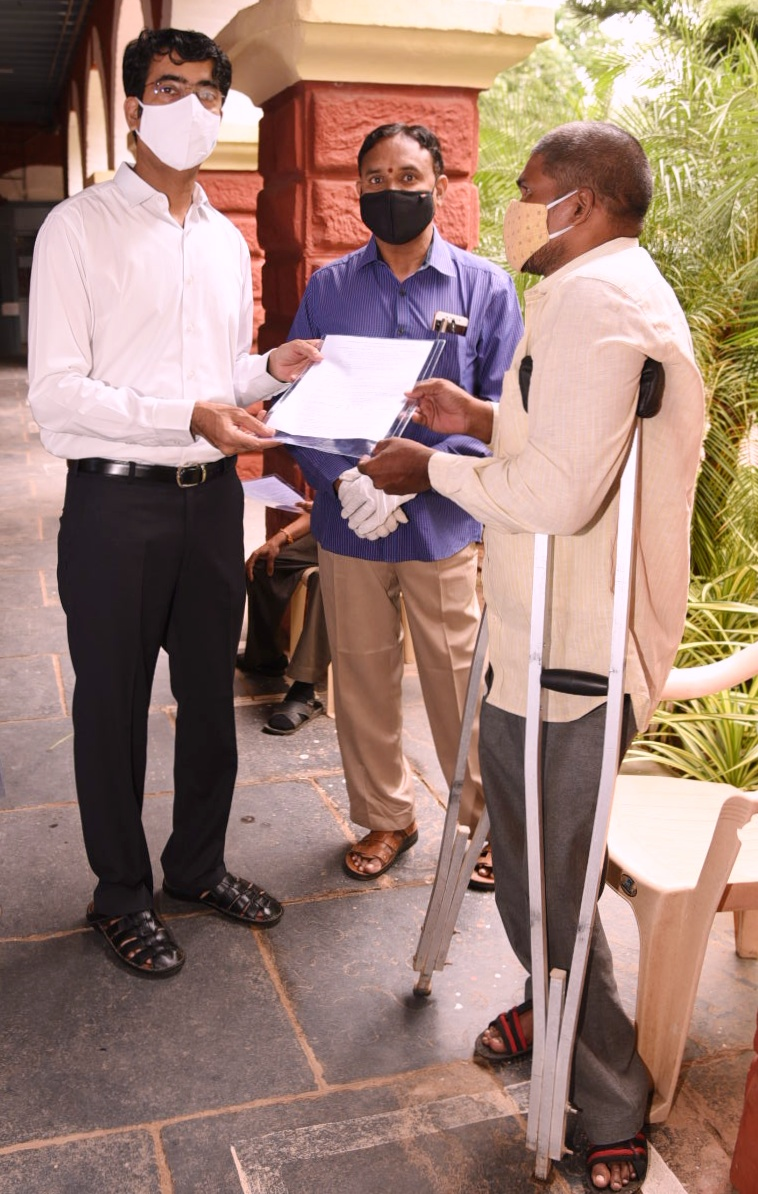 On 22.09.2020 District Collector issued Posting orders to physically challenged candidates in Backlog vacancies at collectorate, Kakinada. District Revenue Officer, Assistant Director Disable Welfare and others participated.