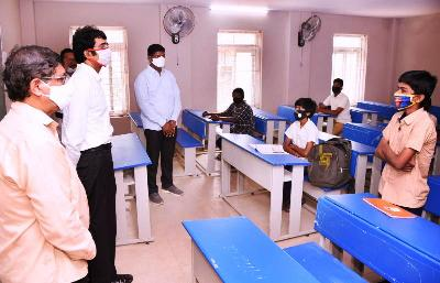 On 02-11-2020 District Collector visited on Reopening of School for 9th & 10th Class and interact with Students on Covid-19 Precautions in Gandhi Nagar Municipal High School, Kakinada.