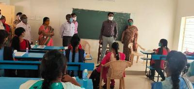 On 05.11.2020 Joint Collector(R) inspected ZPH School in APSP of kakinada rural mandal and observed school functions under all COVID precautions and instructed school staff for strict implementation of COVID precautions