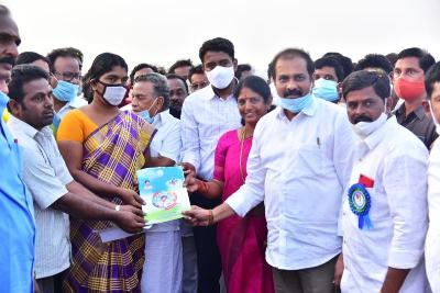 On 27-12-2020 Honourable Agriculture Minister, Member of Parliament Kakinada, Principal Secretary to Chief Minister, Joint Collector(R), Joint Collector(D) distributed House Site Pattas at Suryarao petta kakinada Rural. MPDO, Tahsildar and other participated.