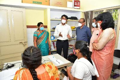 On 02.01.2020 District Collector along with Joint Collector(D) inspected covid vaccine dry run process at UPHC Recharlapeta, and Apolo Hospital Kakinada. Kakinada Municipal Commissioner, DMHO and other participated.