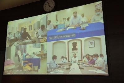 On 18.01.2021 District Collector conducted Mandal Level Video Conference with Mandal Level officers from Collectorate kakinada. Joint Collector-(R), Joint Collector-(D), Joint Collector-(W), Municipal Commissioner Kakinada Municipal Corporation, DRO and other officers attended.