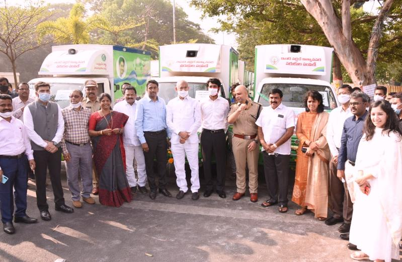 On 21.01.2021 Honorable BC Welfare Minister inaugurated MDU Vehicles at RMC Road, Kakinada. Honorable Member of Parliament Kakinada, District Collector, MLC, MLAs, Joint Collectors and others participated.
