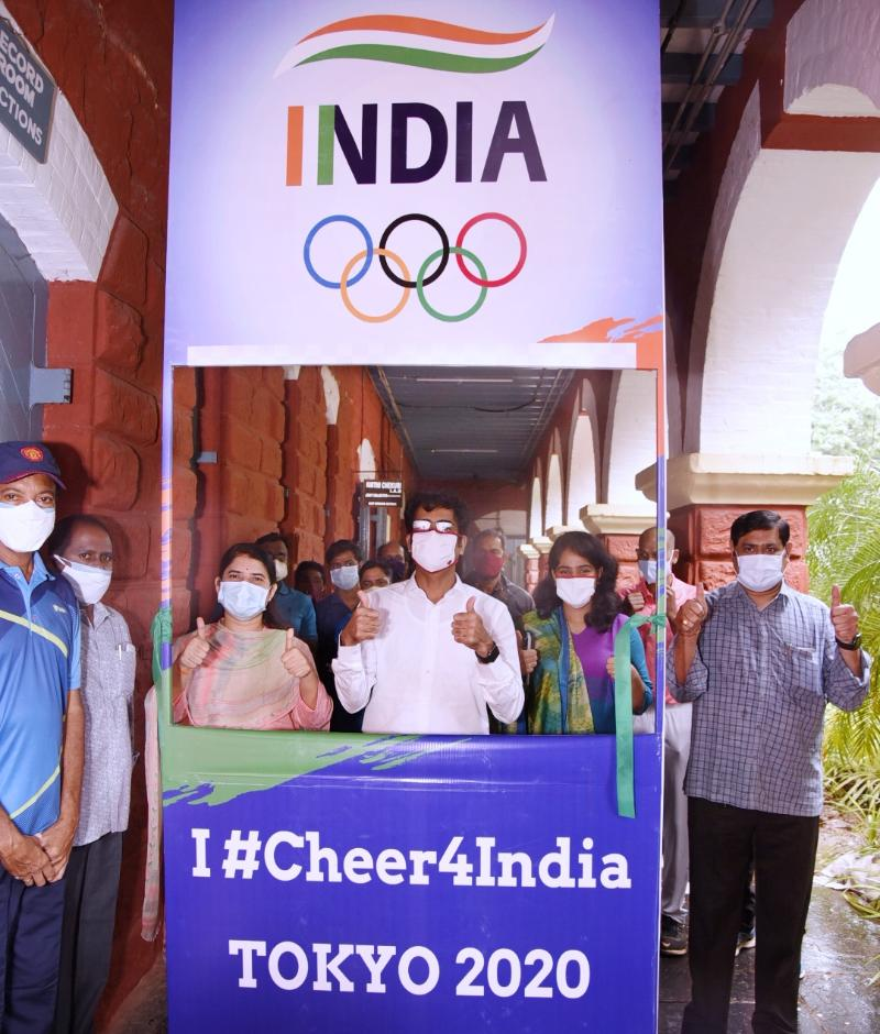 On 22.07.201 District Collector inaugurated CHEER 4 INDIA- TOKYO 2020 Olympics programme at collectorate. Joint Collector(D), Joint Collector(A & W), DRO and other officials participated.