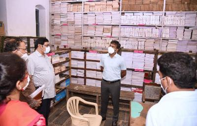 On 01st August, 2021 District Collector inspected Collectorate Sections,Collectorate campus and other department offices located at Collectorate, Kakinada. Joint Collector (RB & R), Joint Collector (D), District Revenue Officer and others participated.