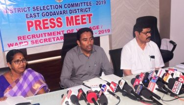 On 30.09.2019 Joint Collector conducted press meet on the arrangements made for conduct of Panchayat Secretary Written Examinations. DRO and CEO ZP were also present.