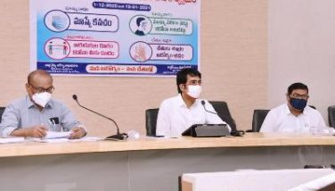 On 02.12.2020 District Collector conducted press meet on 50 days Awareness of Covid-19/ Caronaat collectorate, Kakinada. DRO, DMHO and other participated.