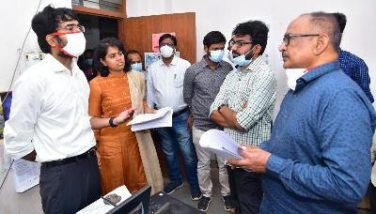 On 21.01.2021 District Collector inspected DMHO office and observed the data entry process of Vaccinating Persons. Joint Collector-(D), DMHO and other participated.