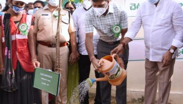On 5th August, 2021 Honourable Minister of Agriculture, District Collector and Superintendent of Police participated in Jagananna Pacchathoranam programme at Vakalapudi village, Kakinada Rural. Joint Collector(RB & R), Joint Collector(D), Joint Collector(A & W), District Forest Officer and others participated.