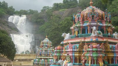 Courtallam Temple Water Falls in the background-1