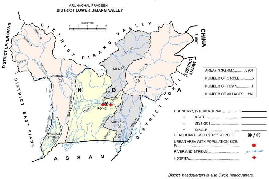 District Map of Lower Dibang Valley