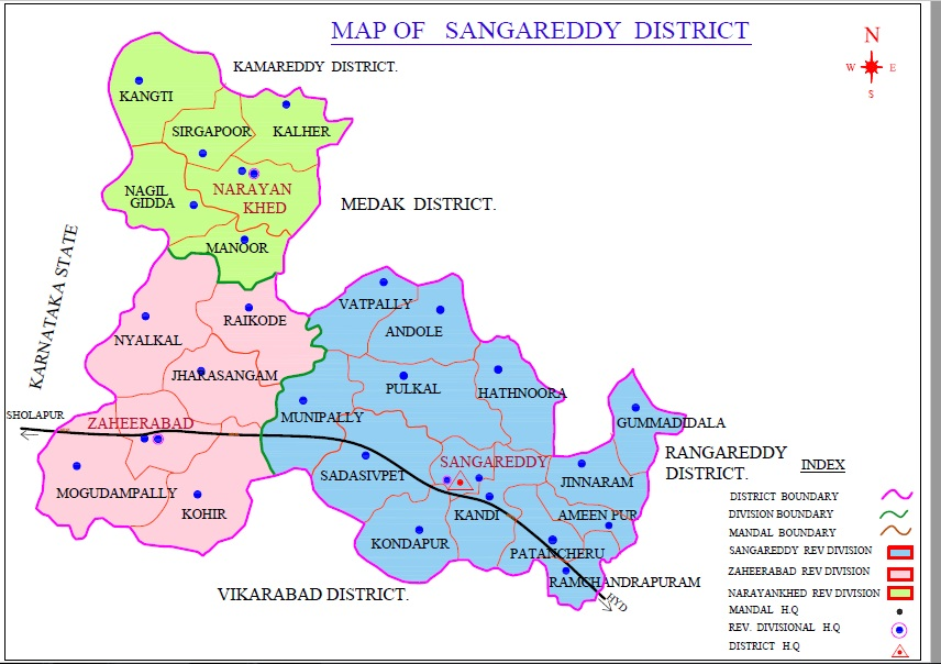 Map of the Sangareddy District