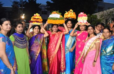 ICDS department Officers playing Bathukamma