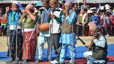 Traditional performance at Jorethang Maghey Mela