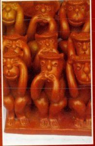 Terracotta work of Monkeys