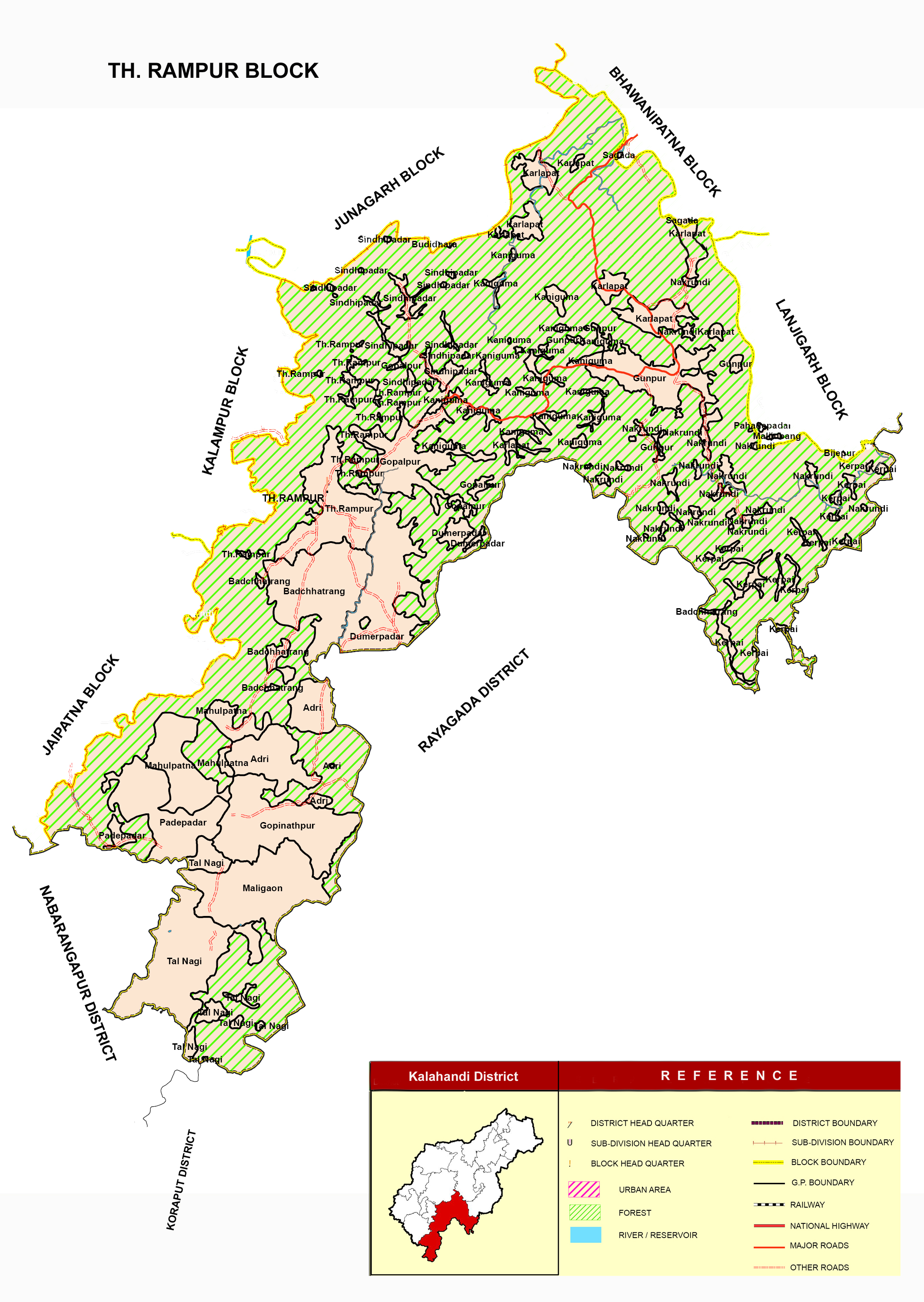 Map of District | Kalahandi District: Odisha | India