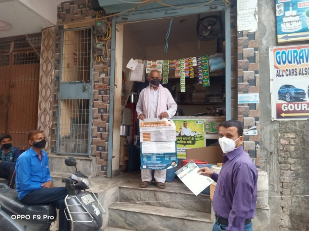 Early morning ,awareness team visiting various milk booths and tea stalls in Palam Area