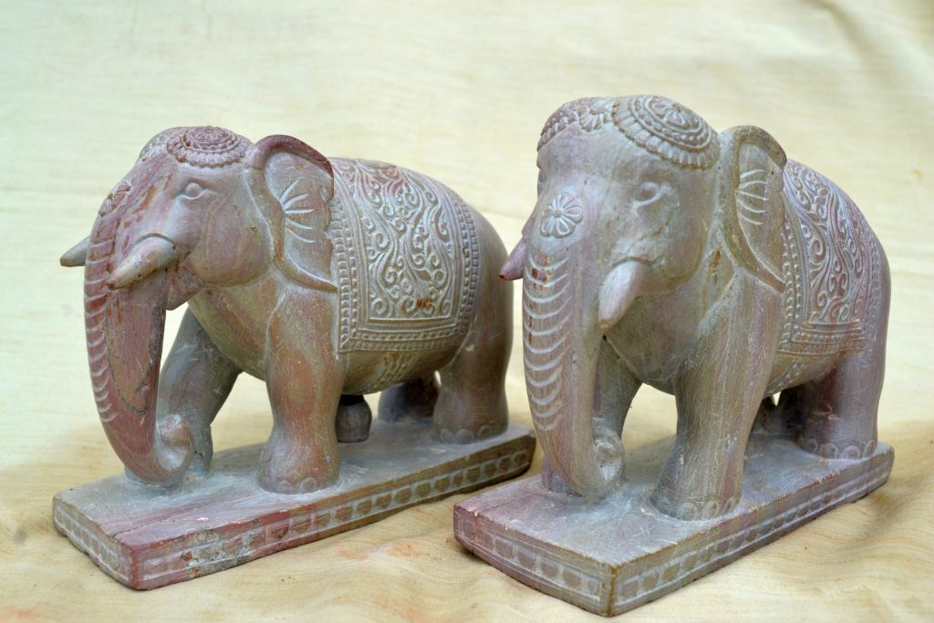Stone carving of elephents