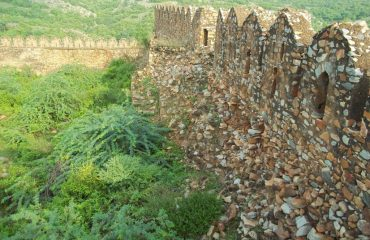 Close View of Battlements of Fort, Kotila .