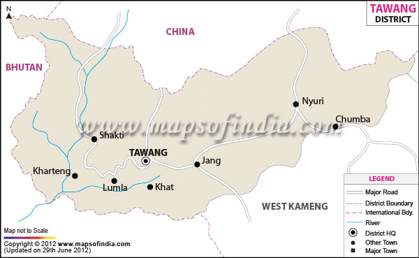 Physical Map Of Tawang District