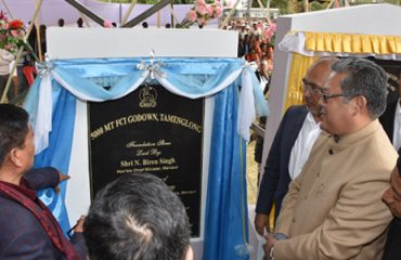 CM laying the foundation stone of FCI godown at Tamenglong HQ