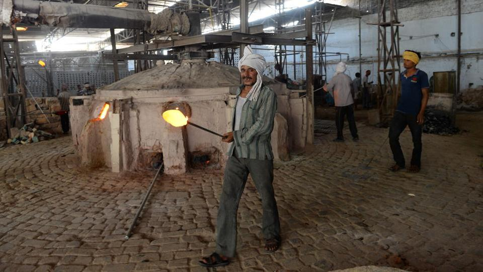 People Working in Glass Factory