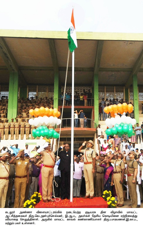 Collector Hoisting the flag