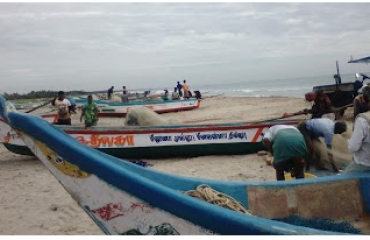 Fishermen getting readt at Samiyarpettai Beach