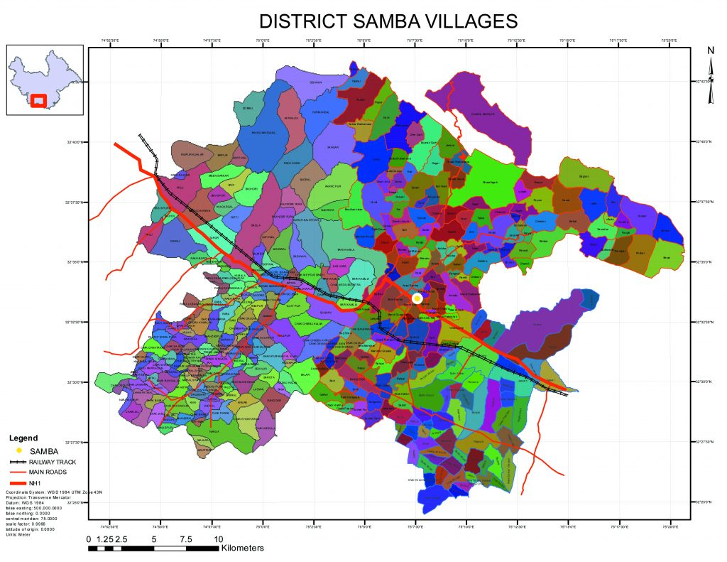 Villages wise Map of District Samba