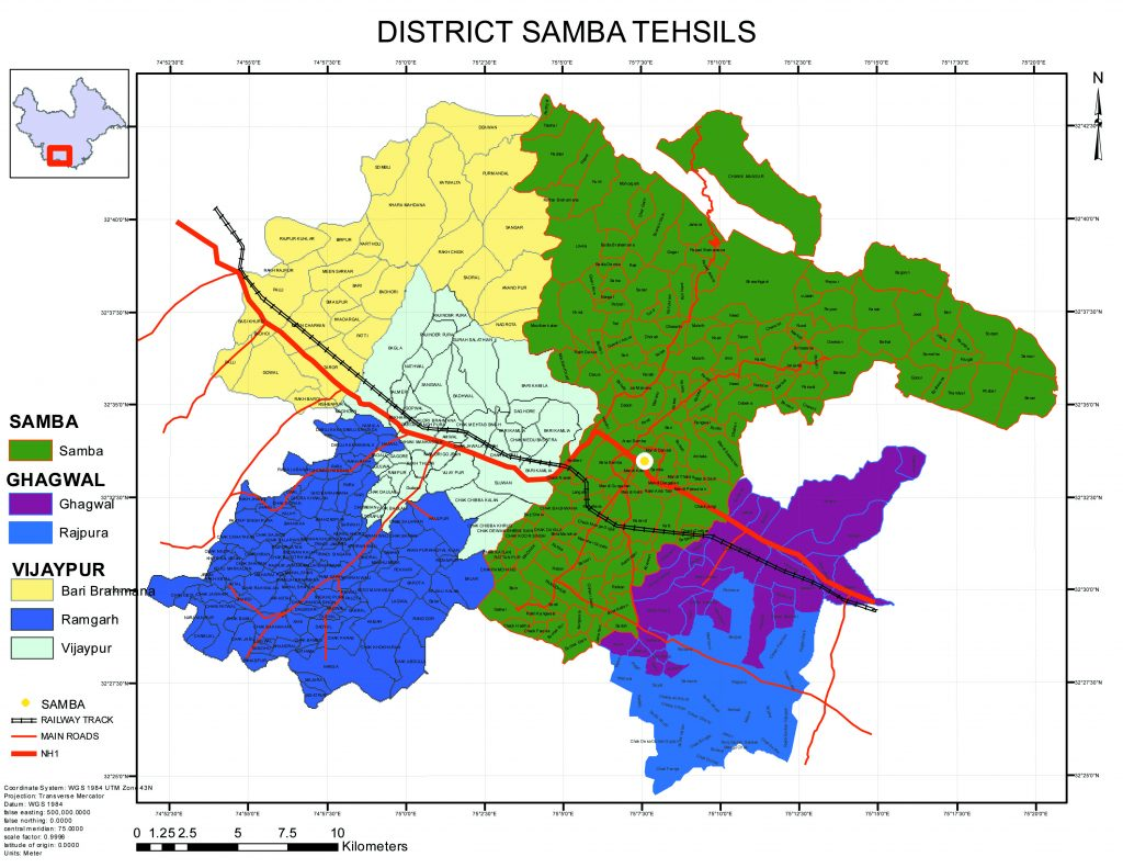 Tehsil wise map of district samba