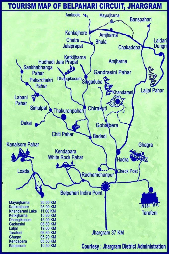Tourism map of Belpahari circuit