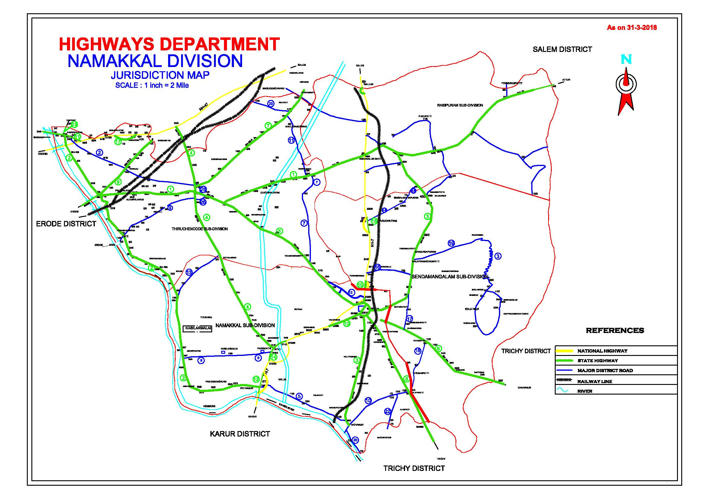 Namakkal District Highway Map