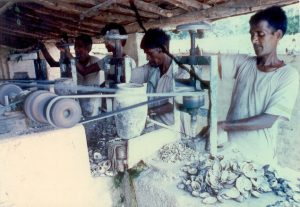 Worker in World Famous Oyster Shell Industry