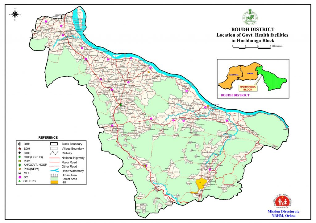 Map-govt health facilities of Boudh