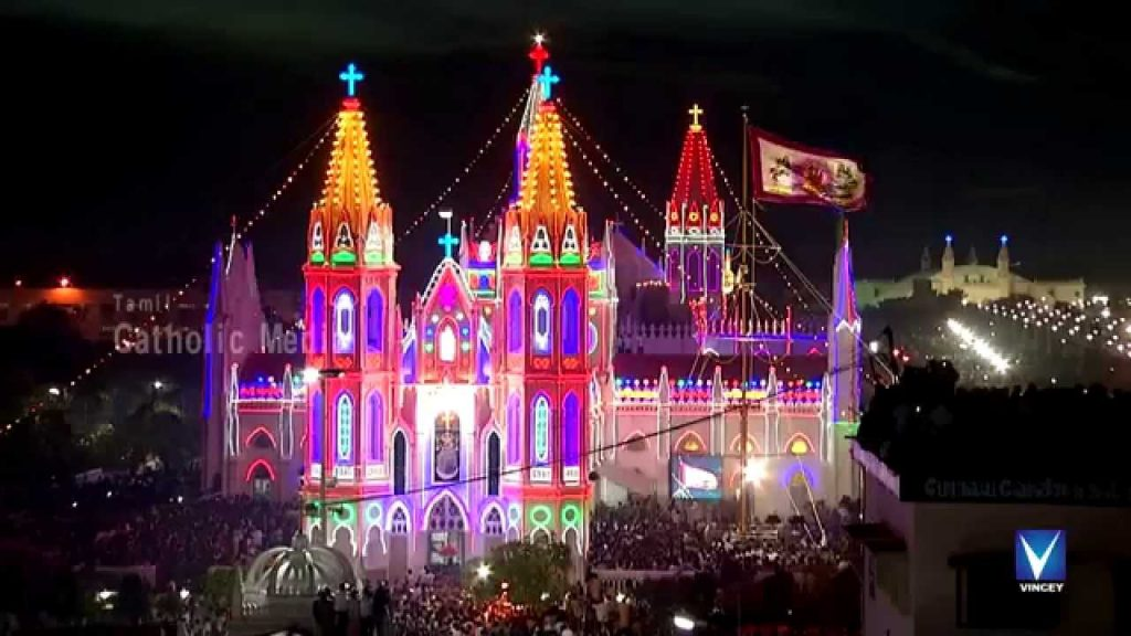 Velankanni Church-Night-View-During-Festival.