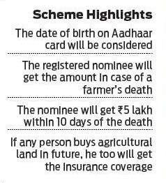 5 Lakhs Insurance to Farmers