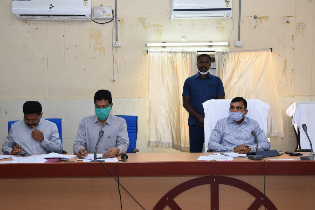N R E G S Review Meeting at Janahitha Bhavan By District Collector.