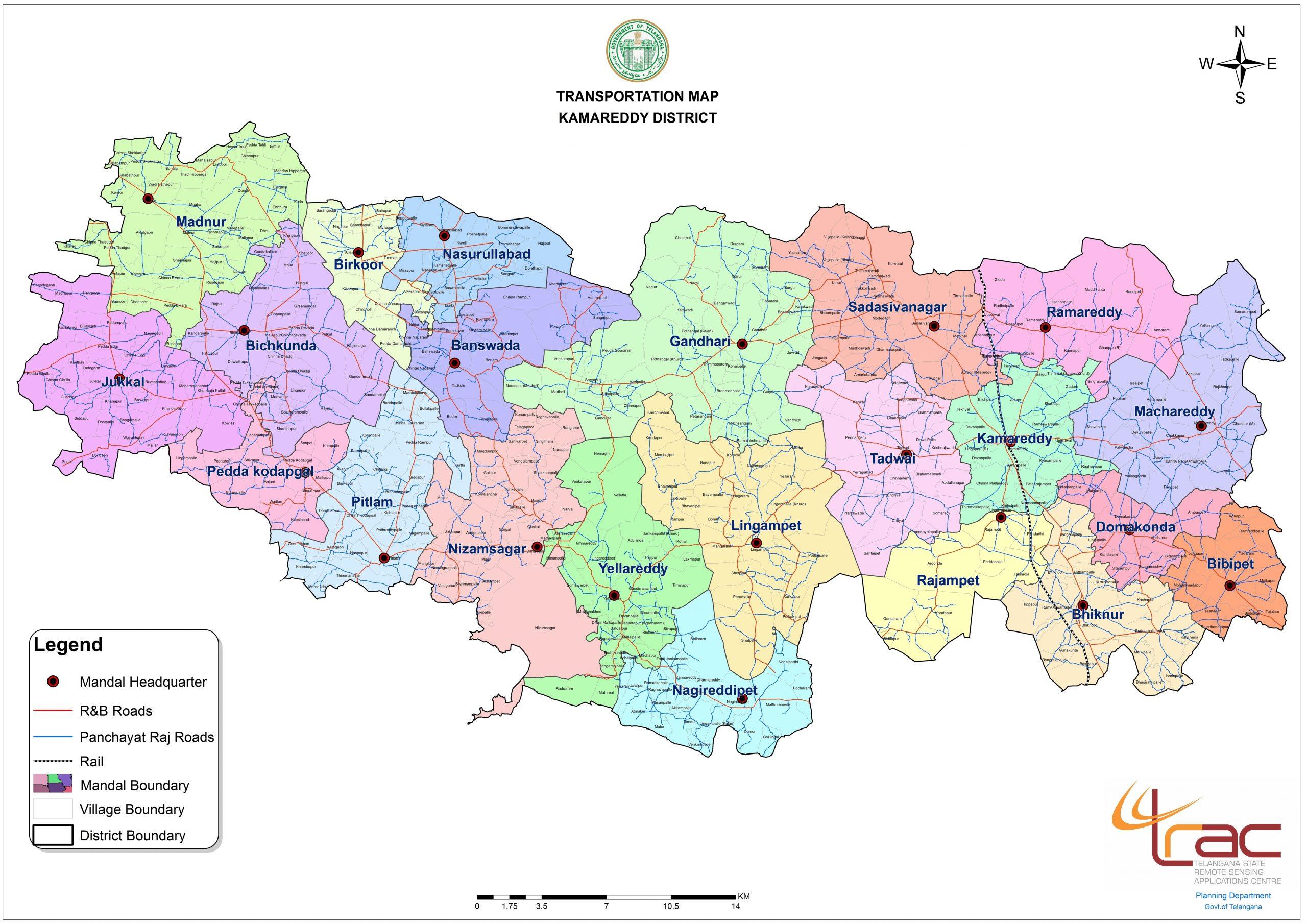 Kamareddy District Transport department Map