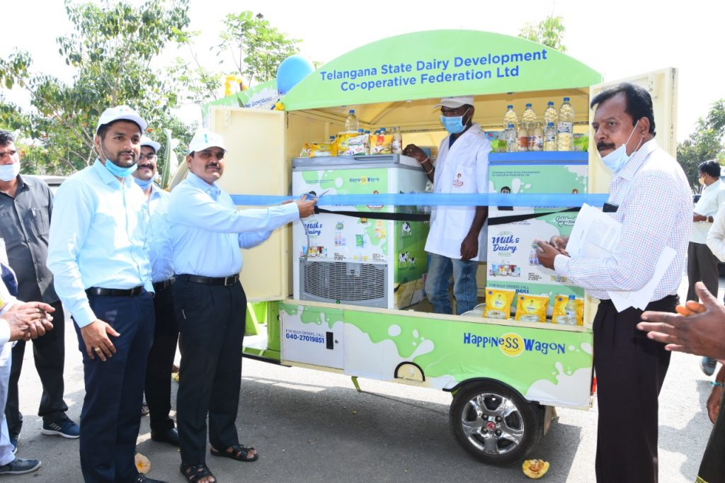 District Collector initiated e-cart demo under the auspices of Vijaya Diary in the Collectorate