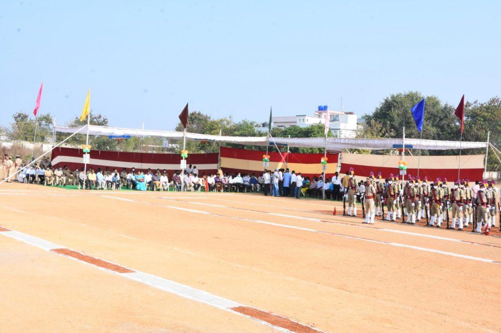 Republic Day celebrations at Indira Gandhi Stadium Kamareddy