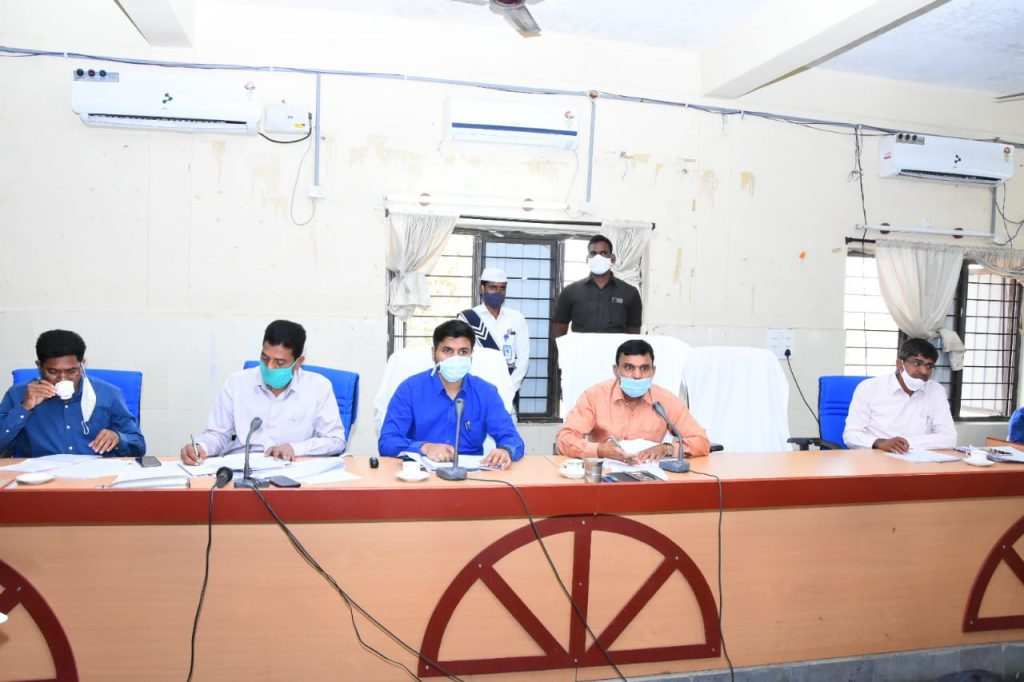 District Collector held review with the Panchayati Raj, AE, DE, EE, MPDO, MPO, APO and Mandal Special Officers on the upadhi hami works at Janahitha Bhavan Collectorate Kamareddy