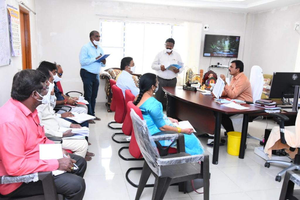 District Collector review with officials about objectives and results of crop loans, bank linkage, duty traders, self-help loans, SC action plan in Collector Camp Office