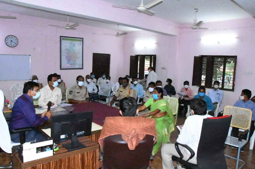 District Collector conducted a review on the Action being Taken against Corona