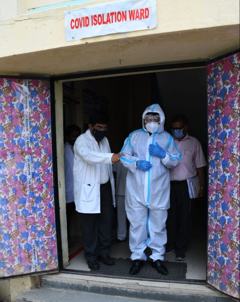 District Collectorvisited Covid Isolation wards of Kamareddy District Area Hospital.