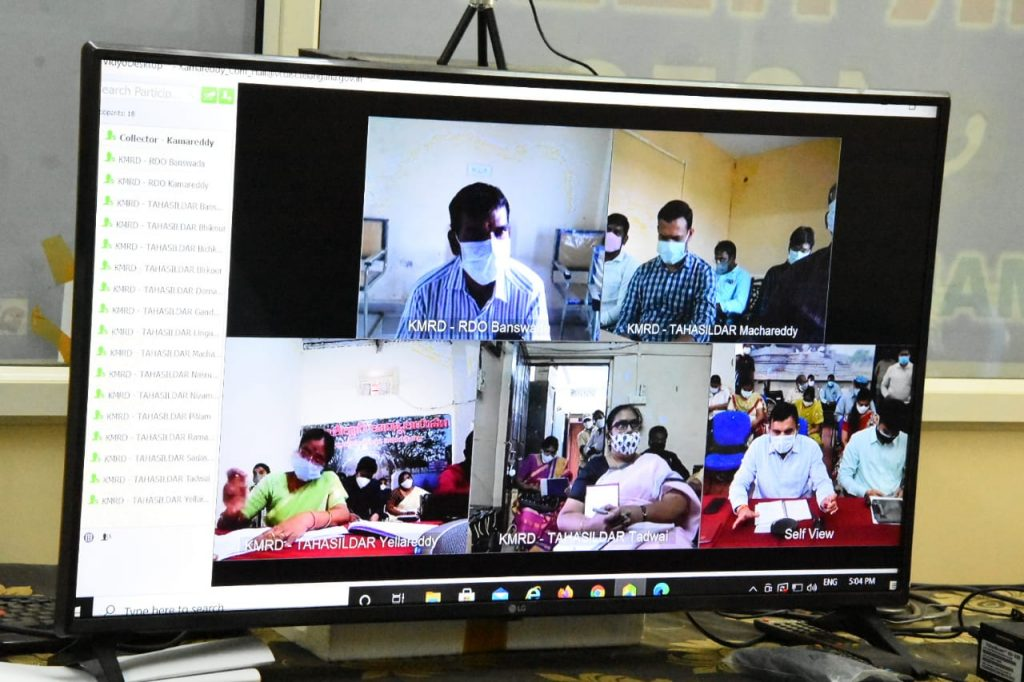 The District Collector reviewed corona control with RDOs, Tahsildars, Medical Officers, DLPOs, MPOs and Municipal Commissioners via video conference
