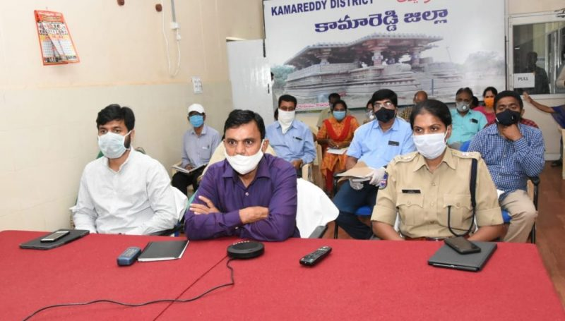 District Collector review meeting through Video Conferencing with taskforce teams on government regulations covid-19.
