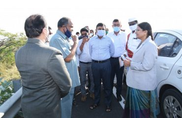 Nizamabad District Sessions Court Judge Mrs. Sai Ramadevi and District Collector Dr. A. Sarath inspected the site of the court building complex in Kasampally suburb.