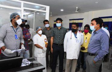 District collector inspected the Corona Vaccination Center at sadashiva nagar & kamareddy hospital.