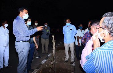 Collector inspected plants planted on Avenue Plantation in Kamareddy